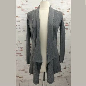 WHBM Open Sweater Cardigan Gray Ribbed Long Sleeve